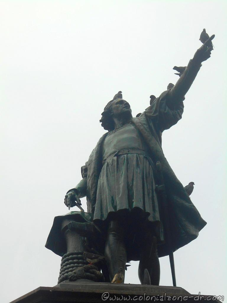 The monument to the Grand Admiral Cristopher Columbus with his finger pointing northwest in the direction from which he came.
